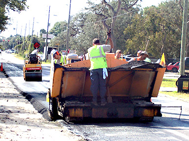 Road Crew Paving a County Road