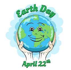 Earth Day April 22, 2021 - Two hands holding the planet with a smiley face on it