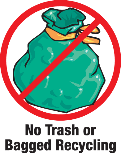 Trash is not allowed in recylcing
